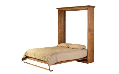 Traditional Alder Open Queen Murphy Bed, Pier & Desk: 142W X 92H X 24D